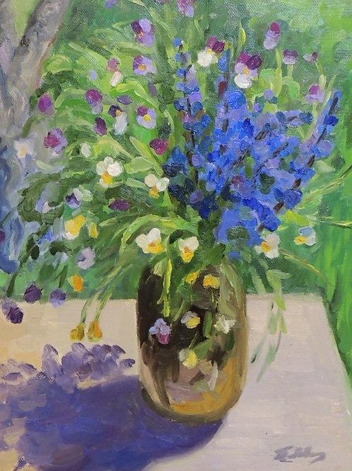 "Картина ""Полевые цветы"", 60 х 50 см, холст, масло"