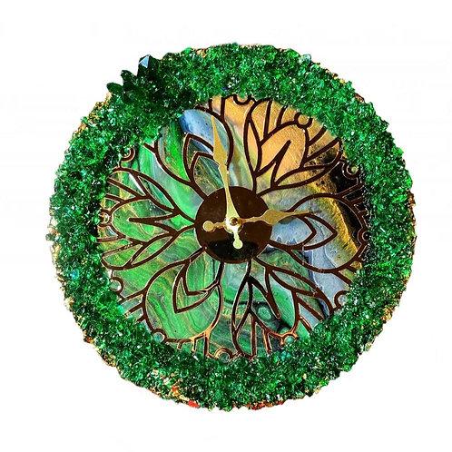 Часы 25 см., Ювелирная смола, золочение сусальным золотом