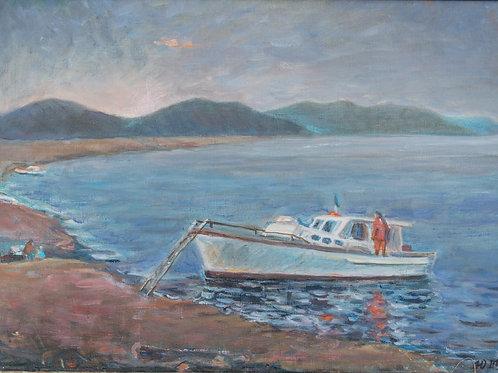 """Картина """"Одинокий катерок"""", 50 х 70 см, холст, масло"""