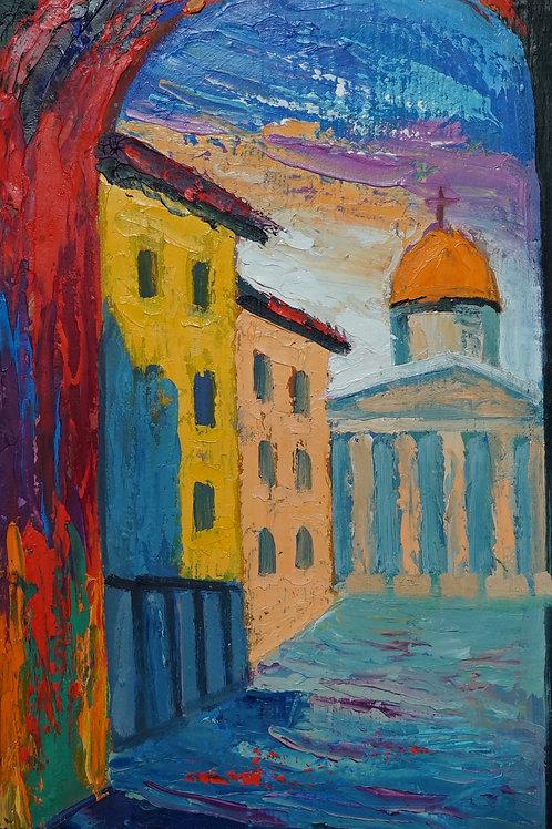 "Картина ""Римское утро"",  40 х 21 см., холст, масло"