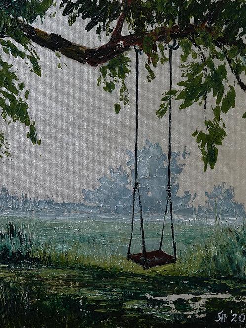 """Картина """"Забытые качели"""", 20 х 15 см., холст на картоне, масло"""