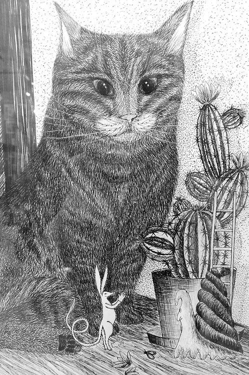 "Картина ""Дусёк и кактус"", 30 х 20 см, бумага, линеры"