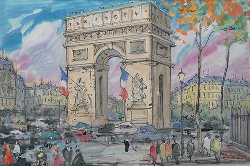 """Картина """"Триумфальная арка"""", бумага, акварель"""