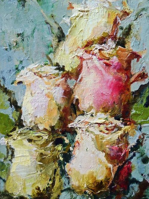 "Картина ""Розы"", 20 х 15 см, холст, масло"