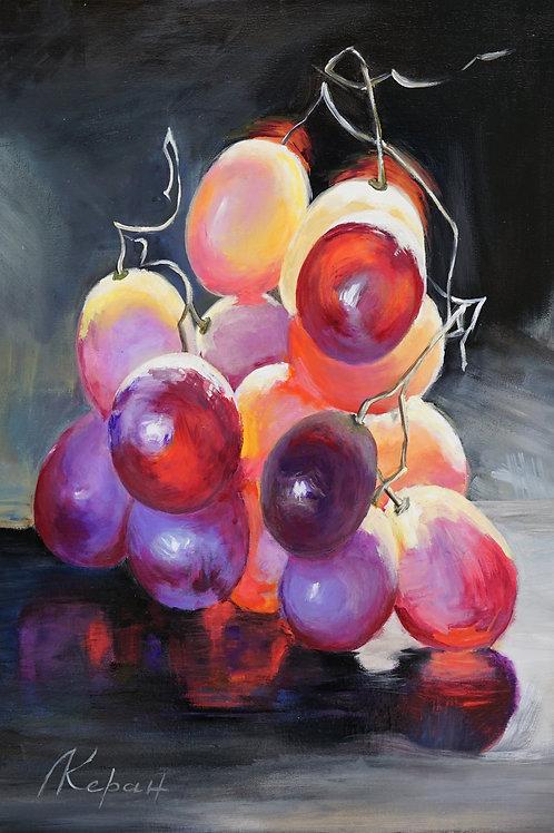 """Картина """"Натюрморт с виноградной кистью"""", 45 х 55 см., холст, масло"""