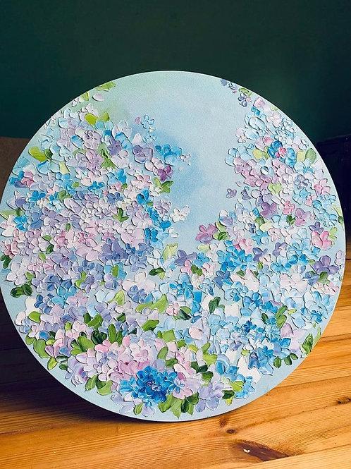 """Картина """"Гортензии"""", диаметр 55 см, холст, масло"""