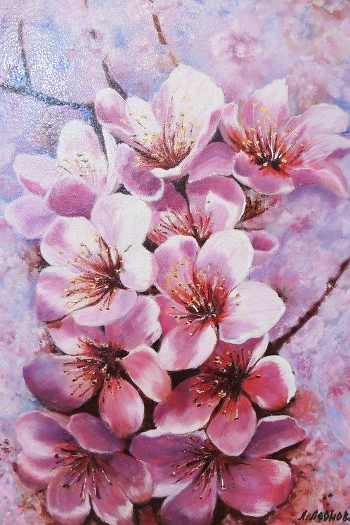 """Картина """"Цветение"""", 50 х 35 см, холст, масло"""