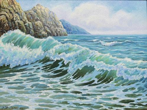 "Картина ""Морской пейзаж"" 30 х 40 см, холст, масло"