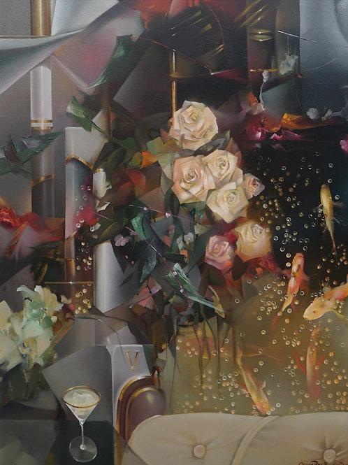 "Картина ""Золотые рыбки"", 120х90, холст, масло"