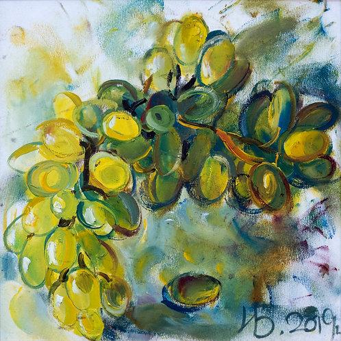 """Картина """"Зеленый в цвете"""", 20х20, картон, масло"""