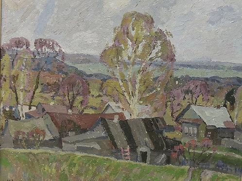 """Картина """"Деревня"""", картон, масло 36 х 43, 1968"""
