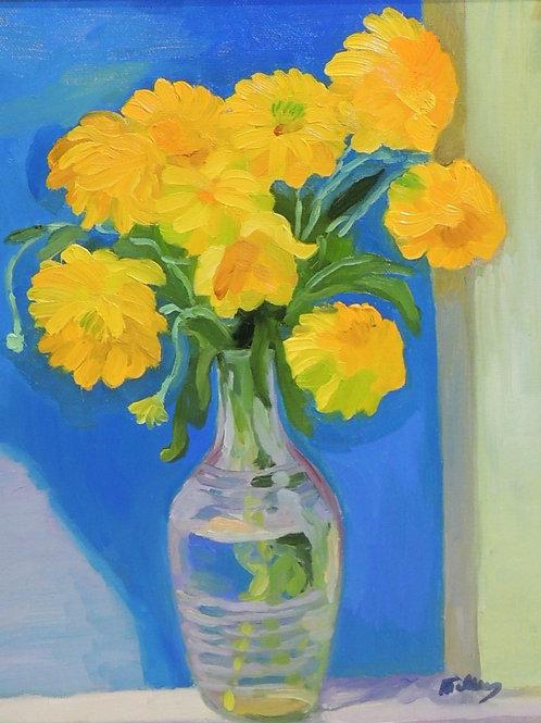 "Картина ""Золотые шары в вазе"", 60 х 50 см, холст, масло"