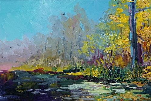"""Картина """"Осень на Яузе"""", 20 х 30 см., ДВП, масло"""