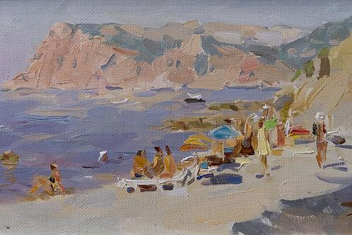 """Картина """"На пляже"""", 20х40, холст, масло"""