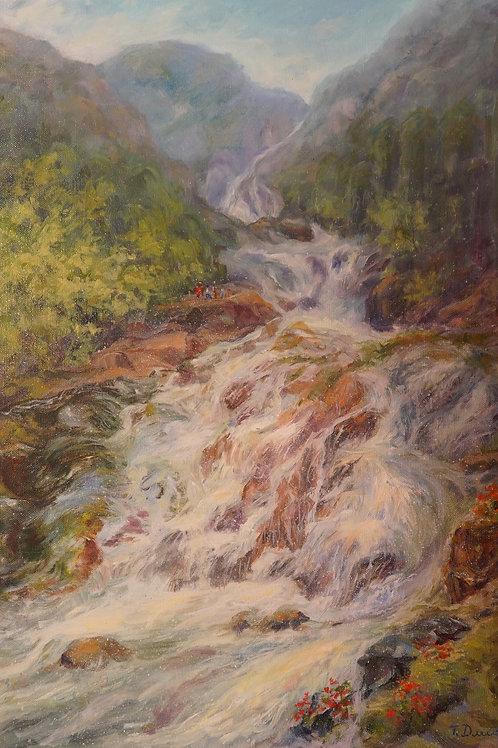 "Картина ""Водопад Датанла"", 70х50, холст, масло"