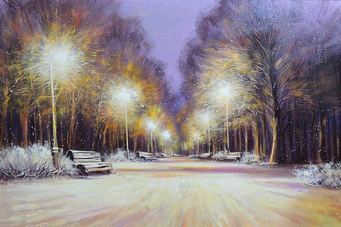 "Картина ""Вечерний парк"", холст, масло, 60 х 95"
