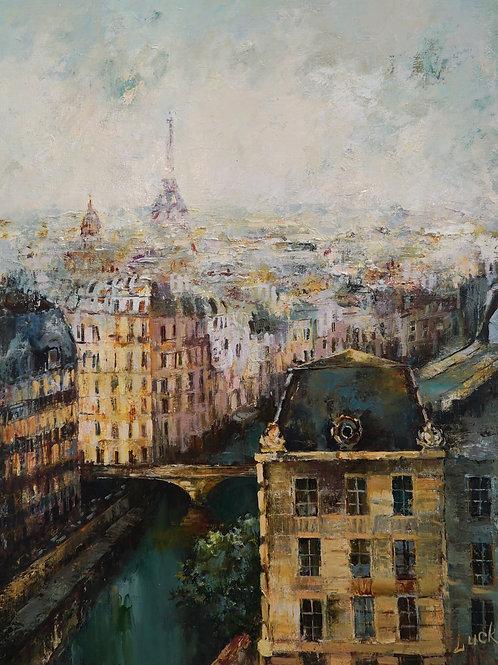 "Картина ""Мост Сан-Мишель"", 60 х 80 см, холст, масло"