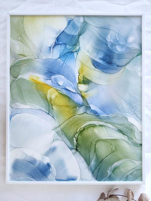 """Картина """"Весенний ветер"""", 40 х 50 см, лмдф, алкогольные чернила, рама белая"""