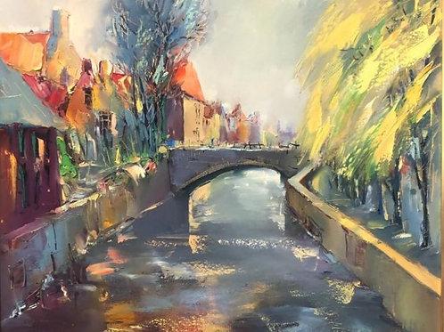 "Картина ""Солнце в Брюгге"", 50 х 60 см, холст, масло"