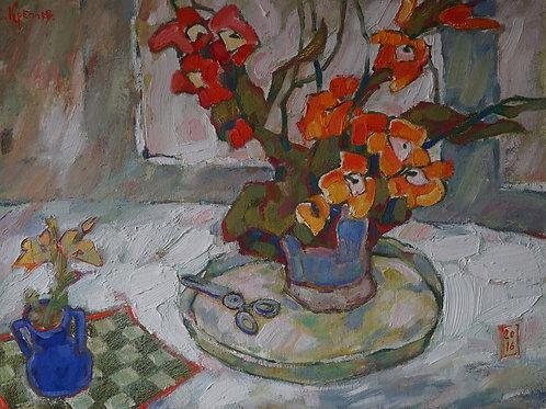 """Картина """"Орхидеи"""", 43 х 58 см., холст на картоне, масло"""