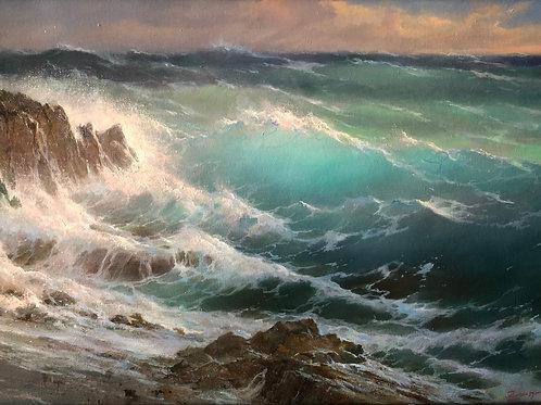 """Картина """"Волны у скал"""". Кипр"""", 40 х 60 см, холст, масло"""