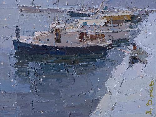 "Картина ""Зимняя рыбалка"", 20х25, картон, масло"