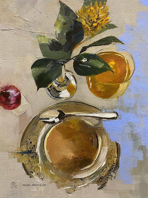 "Картина ""Завтрак в Метрополе"",40 х 30 см, холст, масло"