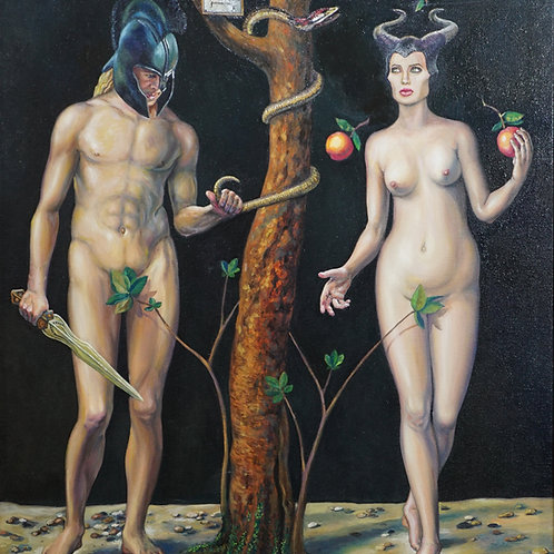 "Картина ""Адам и Ева, возвращение"", 70х80, холст, масло."