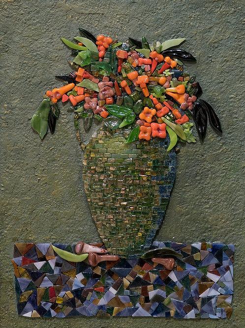 "Картина ""Натюрморт с зеленой вазой"", 52х42, мозаика"