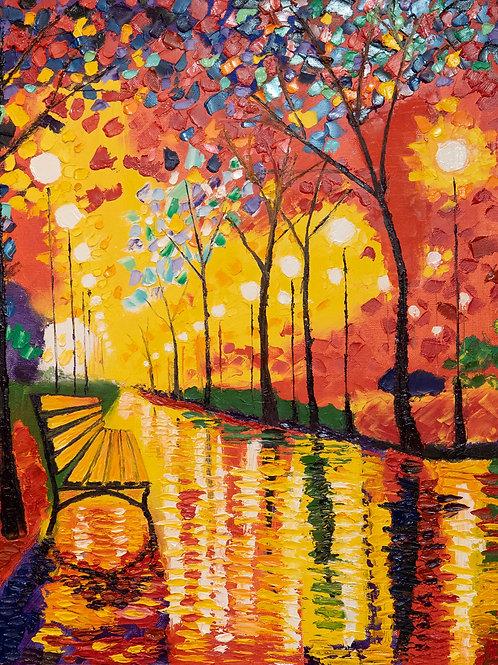 """Картина """"Осенний парк"""" 40 х 50 см. итальянский льняной холст, профессиональный м"""
