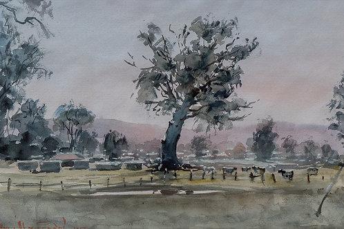 """Акварельная живопись """"Пейзаж с деревьями"""", 47х50, акварель, бумага"""
