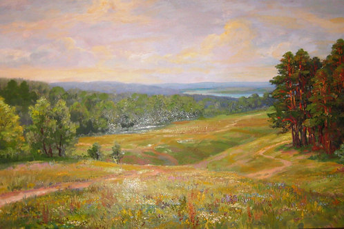 """Картина """"Лесные поляны"""", 1950 год, 60 х 100 см, холст, масло"""