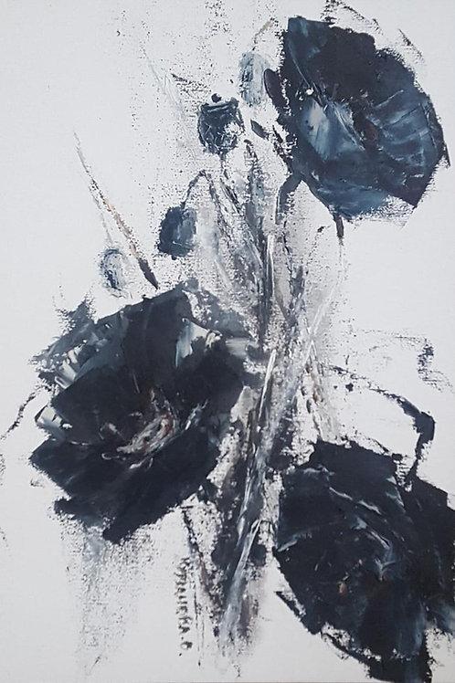 "Картина ""Черный мак"", 35 х 25 см, холст, масло, мастихин"