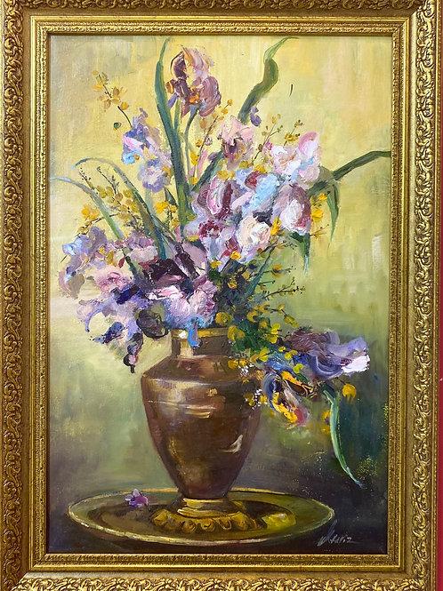 """Картина """"Ирисы"""", 60 х 40 см, холст. масло"""
