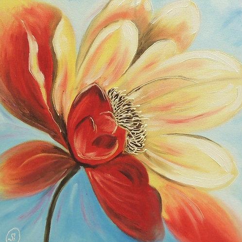"""Картина """"Цветок"""", 40 х 40 см, холст на картоне, масло"""