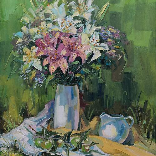 "Картина ""Букет розовых лилий"", 80х60, холст, масло"
