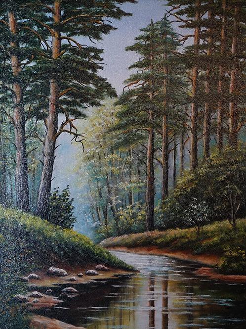 "Картина ""Лесная речка"", 60х40, холст, масло"