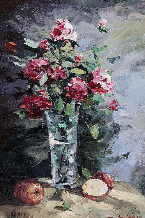 "Картина ""Розы"", 70х50, картон, масло"