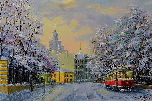 """Картина """"Морозное утро на Яузском бульваре"""", 35 х 60 см., холст, масло"""