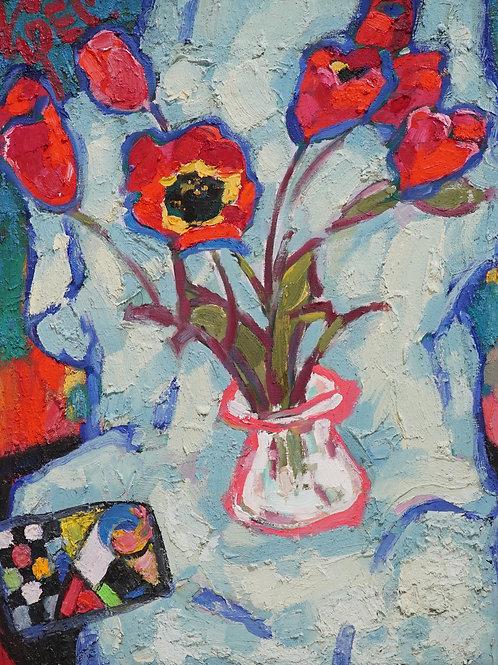 "Картина ""Тюльпаны в розовой вазе"", 60 х 50 см., картон, масло"