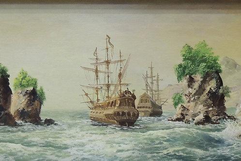 "Картина ""В путь"", 33 х 18, холст на картоне, масло"