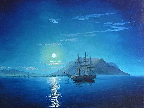 Копия картины «Ночь над морем», И. Айвазовский, 60 х 43 см, холст, масло