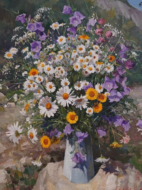 "Картина ""Полевые цветы"", 60 х 45 см, холст,  масло"