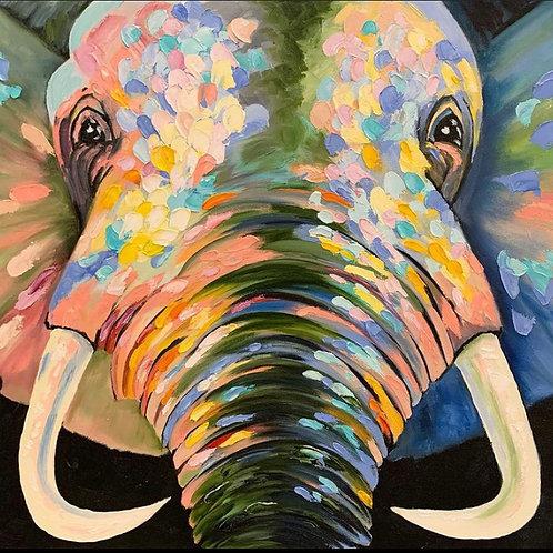 """Картина """"Слон"""", 50 х 60 см, холст на картоне, акрил"""