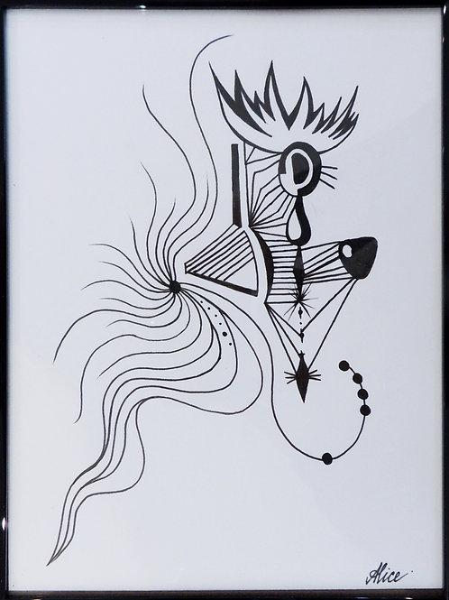 "Картина ""№3"", бумага, перо, 15 х 20"