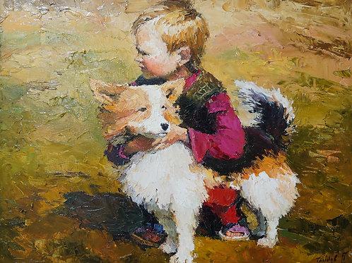 "Картина ""Мальчик с собачкой"", холст, масло"