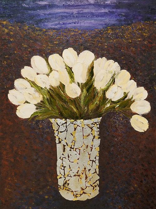 """Картина """"Белые тюльпаны"""", 50х70, холст, масло"""
