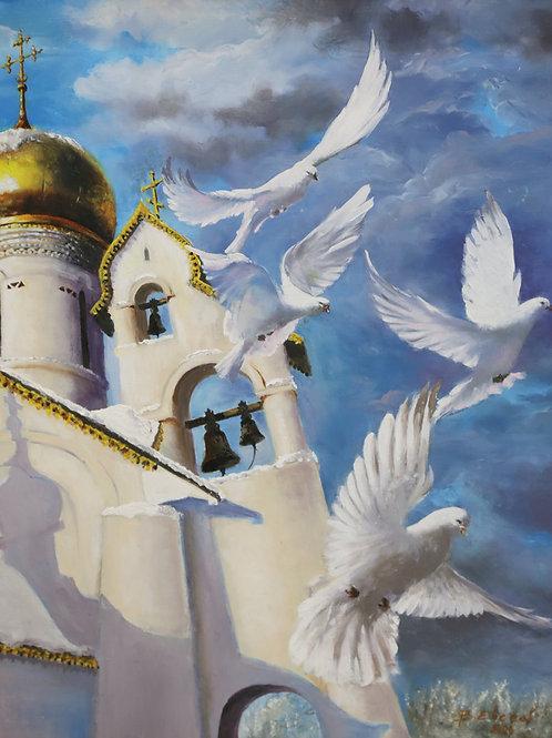 """Картина """"Храм мученика Уара Египетского"""", 45 х 55 см, оргалит, масло"""