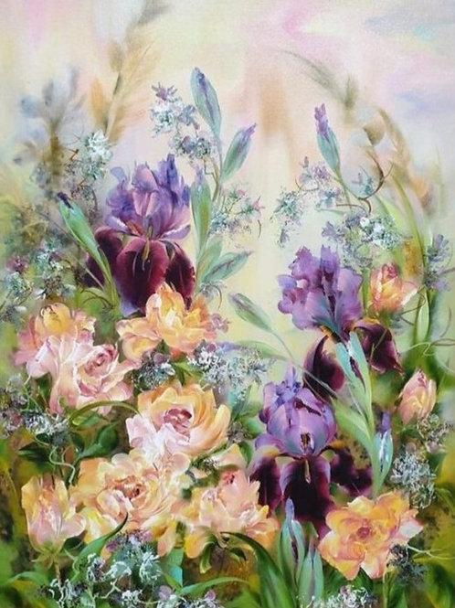 """Картина """"Цветы"""", 70 х 60 см, холст, масло"""