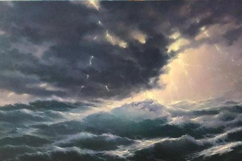 """Картина """"Гроза над морем"""", 80 х 130 см, холст, масло"""